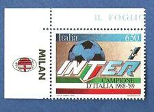 FRANCOBOLLO INTER CAMPIONE  ITALIA CALCIO 1988 - 1989 CON BORDO APPENDICE MILAN