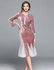 Lady One-Step Fishtail Dress Hotsale Skirt Lace Velvet Sexy Party Pieced Elegant