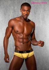 Sexy Slip Nero/Giallo Elasticizzato Underwear Uomo Perizoma Tanga GLAMOUR