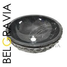 Marble Sink Bathroom Basin Wash Vanity Vessel Bowl Round Black Nero Marquina R47