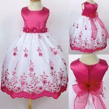 Fuchsia Floral Embroidery Flower Girl Dress Graduation Wedding 2 4 6 8 10 12 14