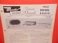 1960 EDSEL RANGER CONVERTIBLE VILLAGER WAGON BENDIX AM RADIO SERVICE SHOP MANUAL