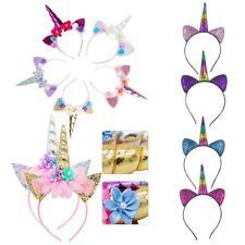 3Types Unicorn Horn Flower Headband Fancy Halloween Kids Adult Party Decor Gift