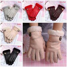 Women Fur Wool Sheepskin Gloves Outdoor Leather Full Finger Winter Warm Mitten