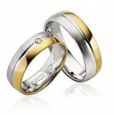 2x JC Trauringe Eheringe 925 Sterling Silber Verlobungsring Gold Plattiert P914