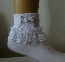 Filles blanc dentelle froncée chaussettes taille beaucoup de tailles LILAS BOW