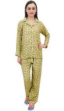 Bimba Olive Green Bird Print Women Shirt With Pajama Pants 2 Pcs Nightwear