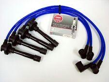 VMS FOR NISSAN GA16DE ENGINE 10.2MM RACING SPARK WIRES NGK V-POWER PLUGS BLUE