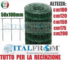 25mt-ROTOLO RETE METALLICA PLASTIFICATA ELETTROSALDATA-MAGLIA 5x10cm-RECINZIONE