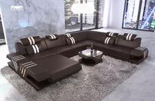 XXL Wohnlandschaft Luxus Couch Design Echtleder Sofa VENEDIG Recamiere LED USB