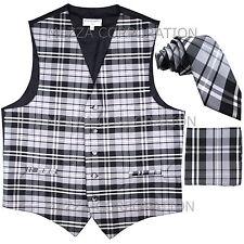 """New Vesuvio Napoli Men's plaid Tuxedo Vest_2.5"""" Self Tie Necktie & Hankie Gray"""
