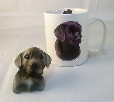 Cute Black Labrador Retriever Mug and Puppy Head 3-D  Sculpted Magnet - Lab