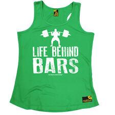 Behind Bars Weightlift Gym bodybuilding funny BirthdayWOMENS GIRLIE VEST