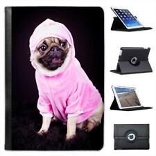 Pug Dog Dressed In Pink Hoodie Folio Leather Case For iPad Mini & Retina