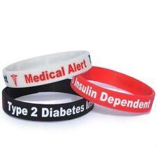 TYPE 2 DIABETES Silicone Wristband x1 Insulin Alert ID Bracelet birthday gift