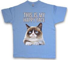 THIS IS MY HAPPY FACE T-SHIRT Grumpy Katze Gesicht Cat Smile Fun Cute