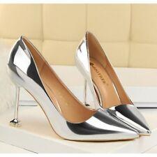 zapatos de salón mujer plata élégant tacón aguja 9.5 cm perno como piel 8326
