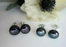 Peacock Black or Black Cultured Pearl Silver Stud Earrings - 8/10 mm.