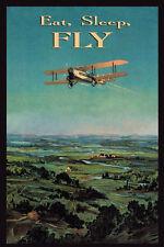 Eat Sleep Fly Airplane Pilot Plane Travel Tourism Vintage Poster Repro FREE S/H