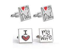 I Love My Wife OR I Love My Dad Cufflinks Cuff Links