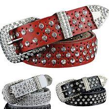 QHA Womens Rhinestone Genuine Leather Belt Party Fashion Designer Buckle Q5043