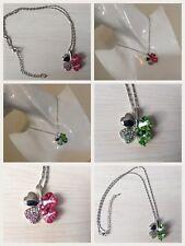Four Leaf Clover Crystal Silver Pendant Necklace **UK SELLER**