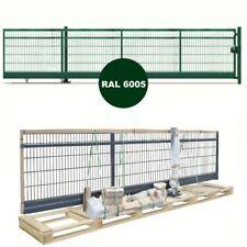 Doppelstabmattenzaun | Freitragendes Schiebetor | Handbetrieb | RAL6005 NEU