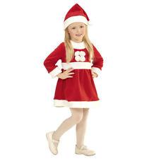 KINDER WEIHNACHTSMANN KOSTÜM & MÜTZE Weihnachtsfrau Kleid Mädchen 98/110 # 1492