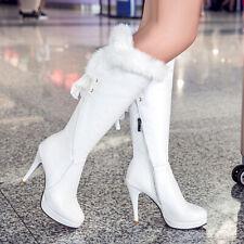 NEU Winter Boots Damenschuhe Stiefel High Heel Plattform gefüttert Elegant
