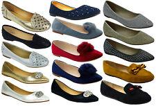 Ladies Flat Pumps Slip On Ballet Ballerina Dolly Bridal Diamante Shoes Size 3-8