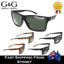 Mens Sunglasses Polarised Flat Top Squared Retro Oversized Matt Finish Polarized