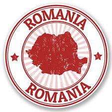 2 x Romania Vinyl Sticker Decal iPad Laptop Travel Luggage Tag Gift Flag #4697