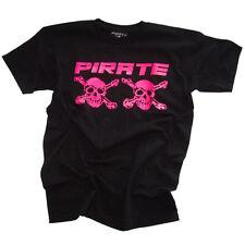 Pirate T-shirt nera/neo rosa, skull, Gothic, pirata, pirata,