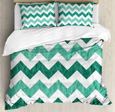Geometric Duvet Cover Set with Pillow Shams Pastel Chevrons Green Print