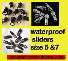 Zipper slider WATERPROOF ZIP No5 or 7 8 BLACK OR SILVER - ZIP PULL Zip Slider