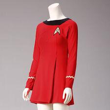 Classic Star Trek Female Duty TOS Red Uniform Dress Halloween Costume Adult New