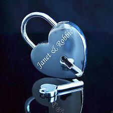 Grabado Personalizado Pulido Cromado Love Cerradura Candado Corazón con clave