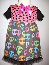 NEW Baby Girls Black pink blue skulls hearts Dress Headband set Rock Punk Gift