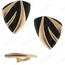 CLIP ON BIG 4cm LARGE clips BLACK ENAMEL stripe metal EARRINGS GOLD/SILVER TONE