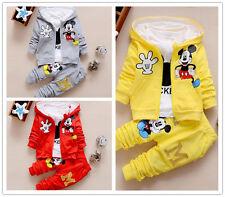 3pcs kids baby boy Girl Mickey coat+T shirt+pants Outfits&set boy autumn clothes