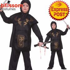 CK1223 Dragon Ninja Assassin Japanese Warrior Hero Black Book Week Boys Costume