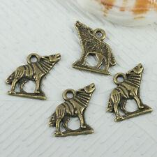 30pcs antiqued bronze tone wolf design charms EF0575