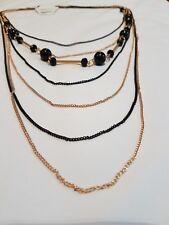 Stylish Golden & Black Beads Chain Wedding Fancy Pendant Jewellery Necklace