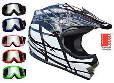 Kids Dirt Bike Helmet BLACK with goggles Youth Child Motocross Quad ATV PEEWEE