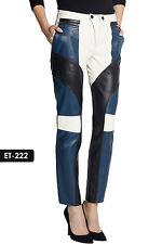 Genuine Soft Lambskin Leather  Paneled Biker Pant