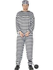 Mens Criminal Jailbird Prisoner Jail Outlaw Stripe Convict Costume