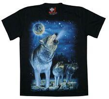 T-Shirt Wolf heulend, Wölfe+Mond,Gr. S M L XL,Biker Indianer Zoo Cowboy Lobo