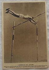 Photo Bill Miller,saut à la perche 1933,clipping