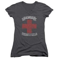 BON JOVI - Bad Medicine - Juniors Size V-Neck T-Shirt