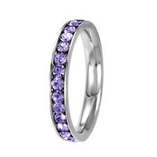 Stainless Steel Eternity Alexandrite Crystal June Birthstone Stackable Ring 3MM
